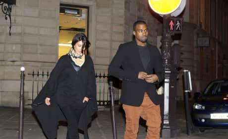 Kim Kardashian and Kanye West in England