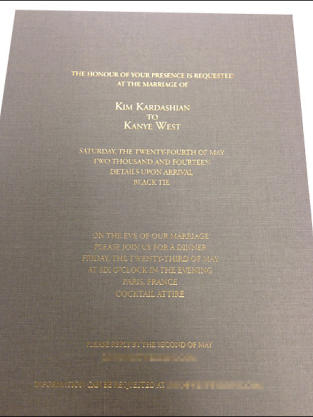 Kimye Wedding Invite