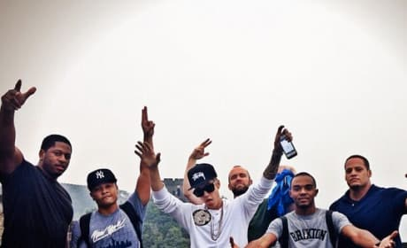 Justin Bieber Gets Carried Up The Great Wall