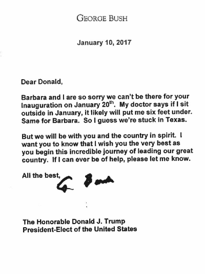 George HW Bush Pens Apology Letter to Donald Trump Read It Here