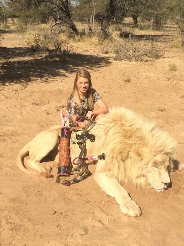 Kendall Jones with Dead Lion