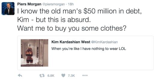 Piers Morgan Pokes Fun at Kim Kardashian's Nude Selfie