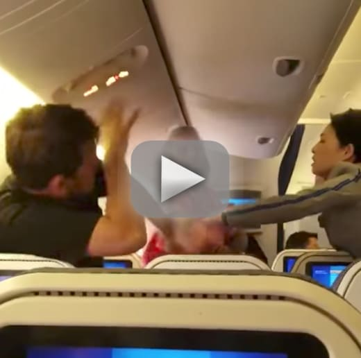 Nippon airways passengers get into all out brawl on board plane