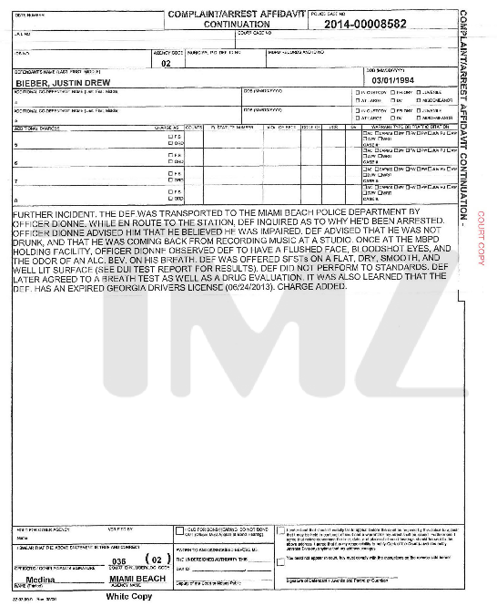 Justin Bieber Police Report, Page 3