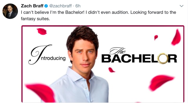 Wed love to see zach braff as the bachelor