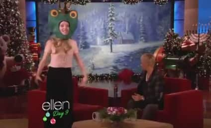 "Amanda Seyfried Raps ""California Love"" in Frog Mask on Ellen"