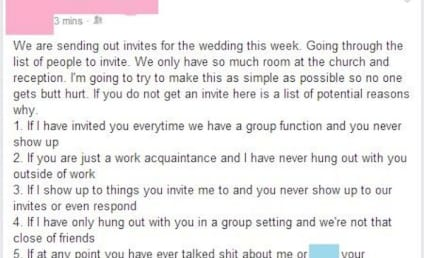 Honest Bride Tells Facebook Friends Why They May Not Be Invited to Her Wedding