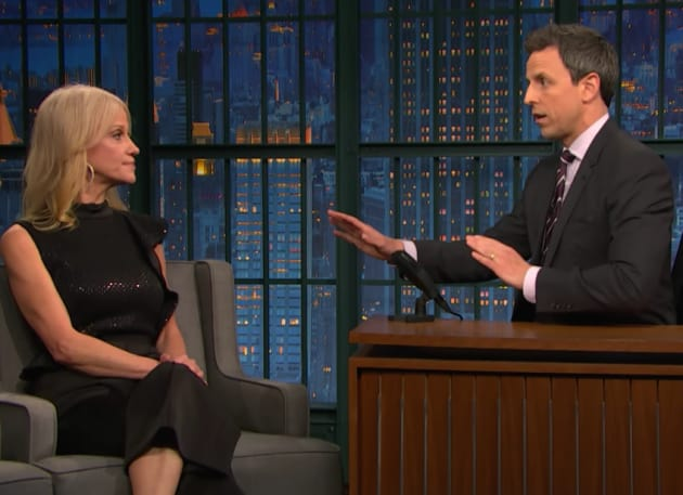 Kellyanne Conway and Seth Meyers