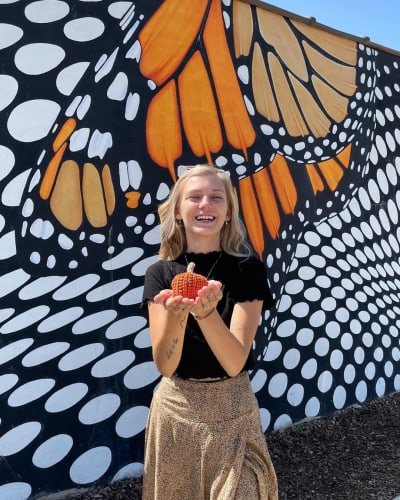 Gabby Petito with a Crochet Pumpkin