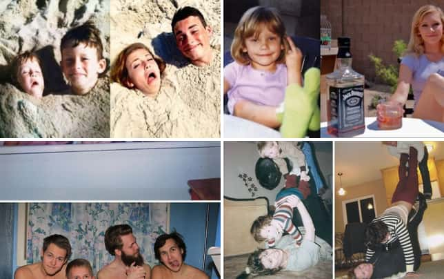 21 grown ups reenacting childhood pics two heads are better than