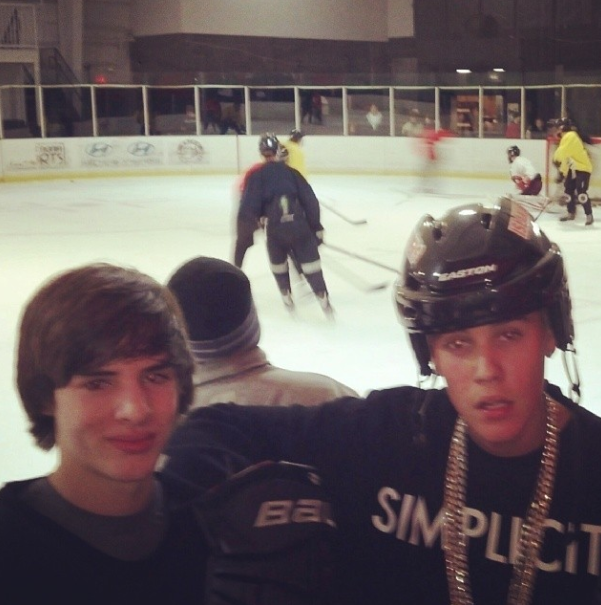 Justin Bieber with Hockey Player