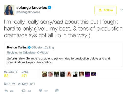 solange tweet message