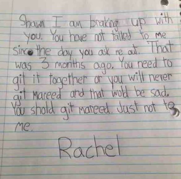 Little Girl's Breakup Note