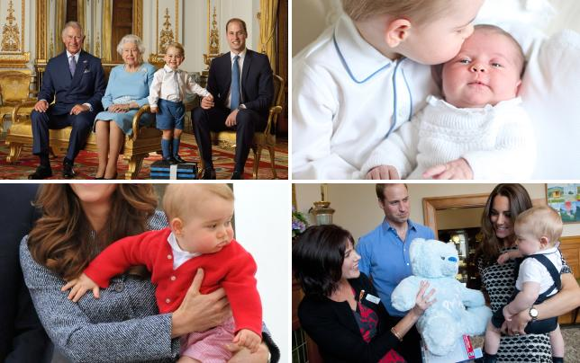 Prince george poses with prince charles queen elizabeth ii and p