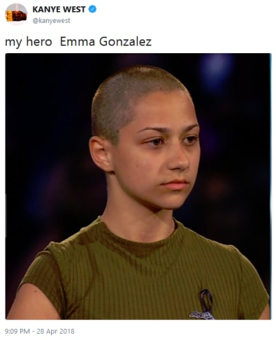 Kanye West Tweets About Emma Gonzalez