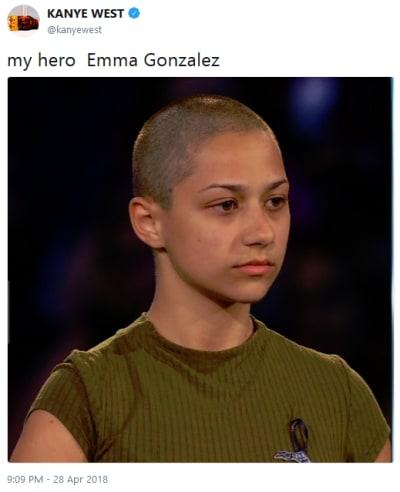 Kanye West Tweets About Emma Gonzalez