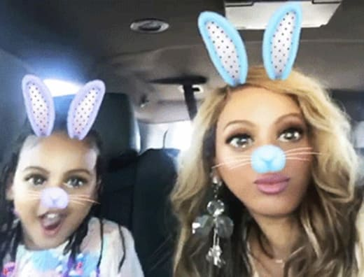Beyonce and Blue on Snapchat