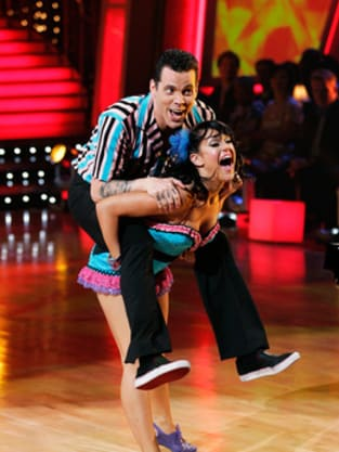 Steve-O, Lacey Schwimmer on Stage