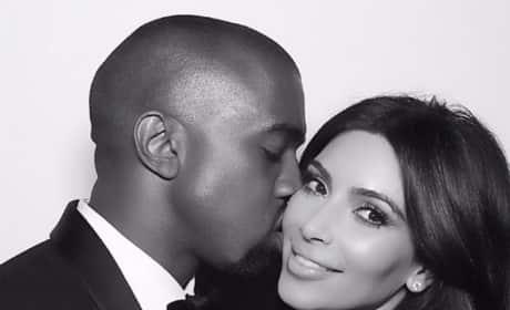 Kanye West Kisse Kim Kardashian