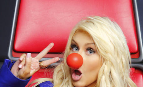 Christina Aguilera Red Nose Photo