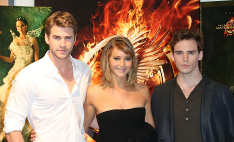Liam Hemsworth,Jennifer Lawrence and Sam Claflin