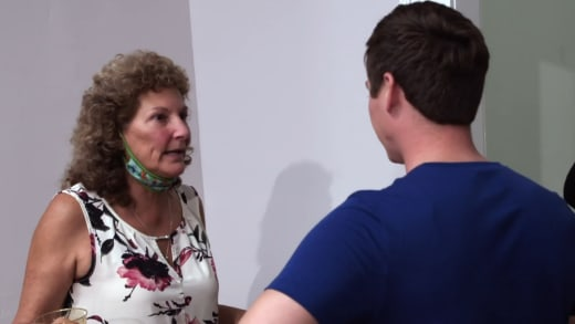 Betty Gibbs is indignant when confronted
