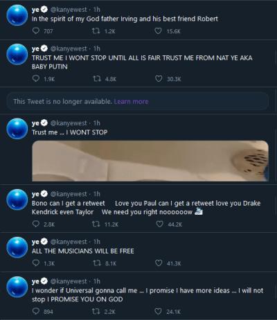 Kanye West tweets including Grammy Award pee (cropped)