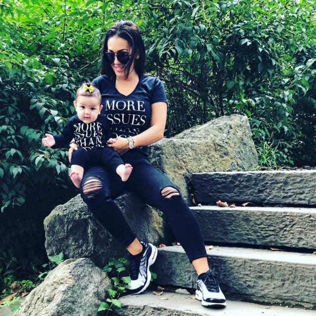 Jen harley and baby ariana take a stroll in the park