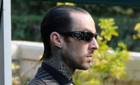Travis Barker at DJ AM Funeral