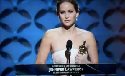 Jennifer Lawrence Falls on Stairs After Winning Best Actress