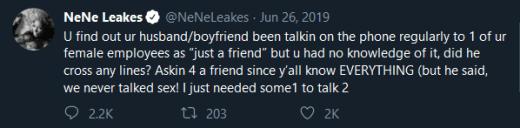 "nene leakes ""hypothetical"" emotional cheating gregg tweet"
