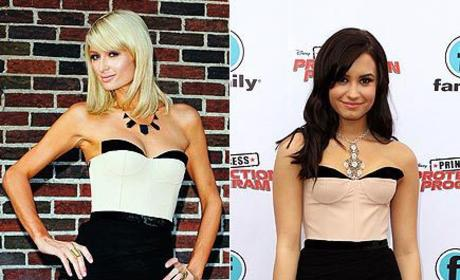 Who wears this outfit better: Paris Hilton or Demi Lovato?