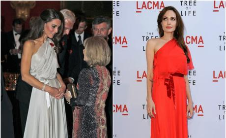 Kate Middleton and Angelina Jolie In The Same Jenny Packham Gown