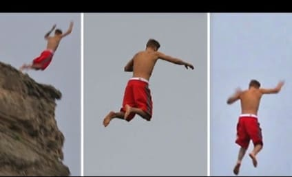 Justin Bieber Botches Cliff Dive in Scary Video! Watch Now!