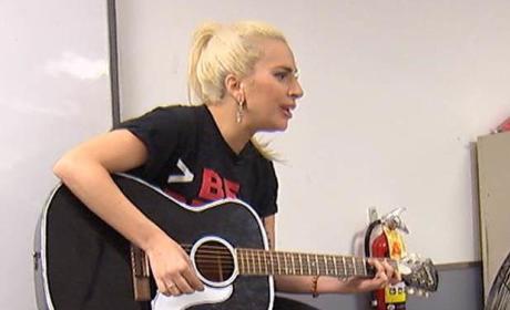 Lady Gaga at a Homeless Center