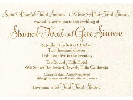 Gene Simmons and Shannon Tweed Wedding Invitation