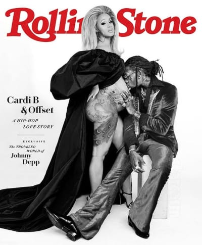 Cardi B Rolling Stone Cover Black and White