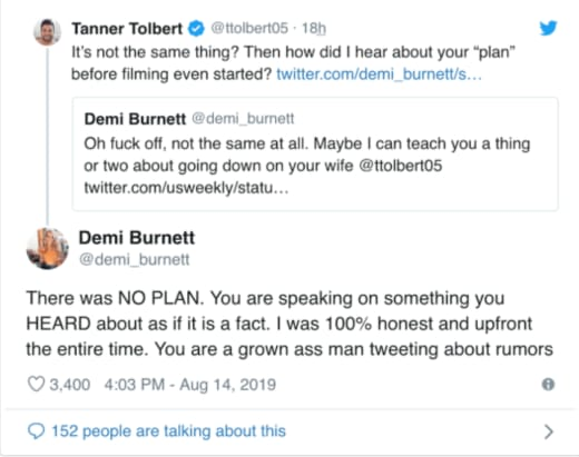 Tanner Tolbert: I Have No Regrets! Demi Burnett Sucks, You