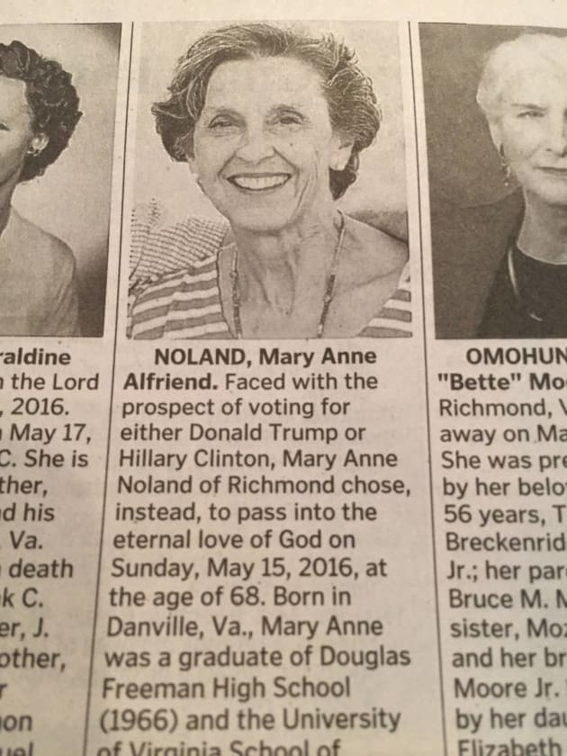 Mary Anne Nolad Would Rather Die Than Vote in The 2016 Election