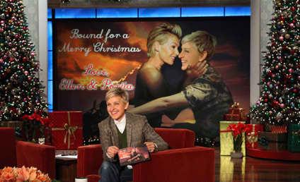 """Ellen DeGeneres Mocks Kimye, """"Bound 2"""" Video in Phony Christmas Card"""