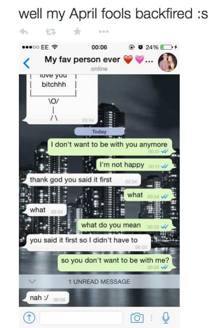April Fools' Breakup Text