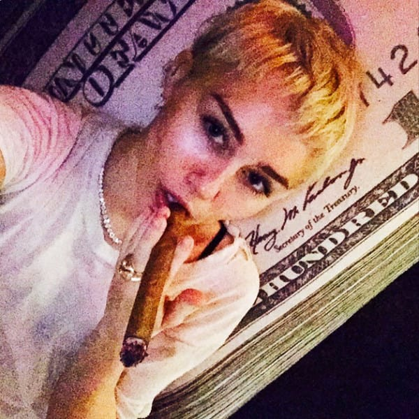 Miley Cyrus with a Blunt