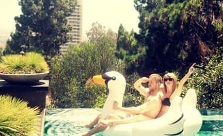 Taylor Swift and Calvin Harris on a Swan