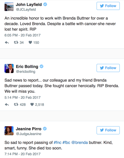 Brenda Buttner, Fox News Host, Dies Of Cancer