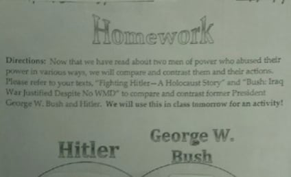 George W. Bush-Adolf Hitler Venn Diagram Used in Middle School Homework Assignment