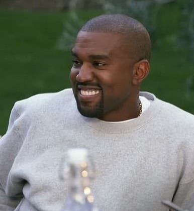 Kanye is actually smiling