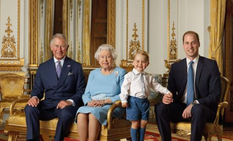 Prince George Poses With Prince Charles, Queen Elizabeth II and Prince William