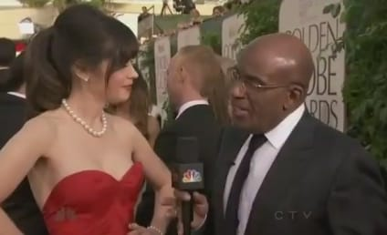 Zooey Deschanel Golden Globes Dress, Filmstrip Nails Rock Red Carpet