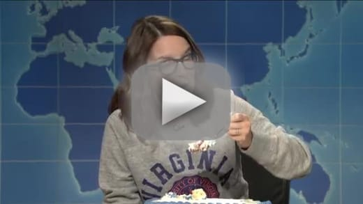 Tina fey slams donald trump on weekend update eats a lot of cake