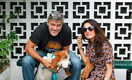 George Clooney and Amal Alamuddin and a Dog